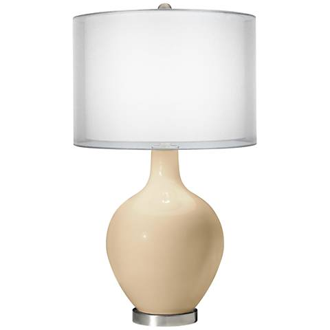 Colonial Tan Double Sheer Silver Shade Ovo Table Lamp