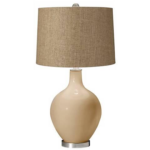Colonial Tan Tan Woven Ovo Table Lamp