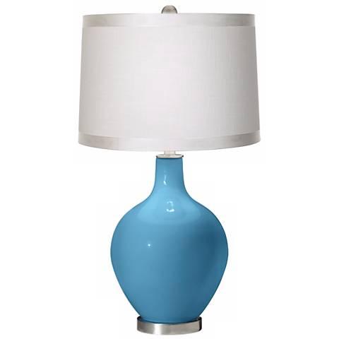 Jamaica Bay White Drum Shade Ovo Table Lamp