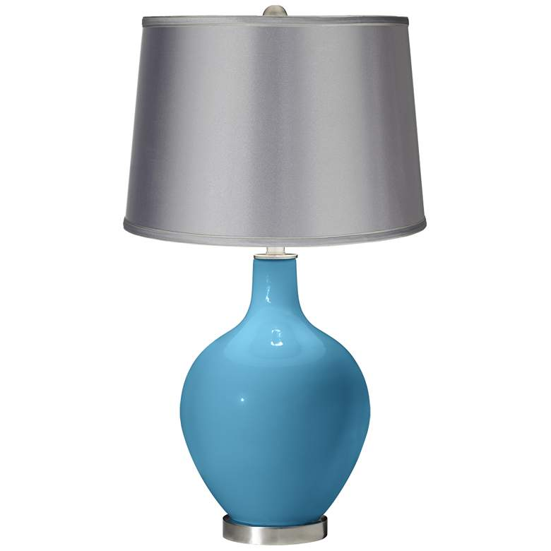 Jamaica Bay - Satin Light Gray Shade Ovo Table Lamp