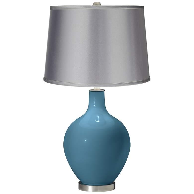 Great Falls - Satin Light Gray Shade Ovo Table Lamp