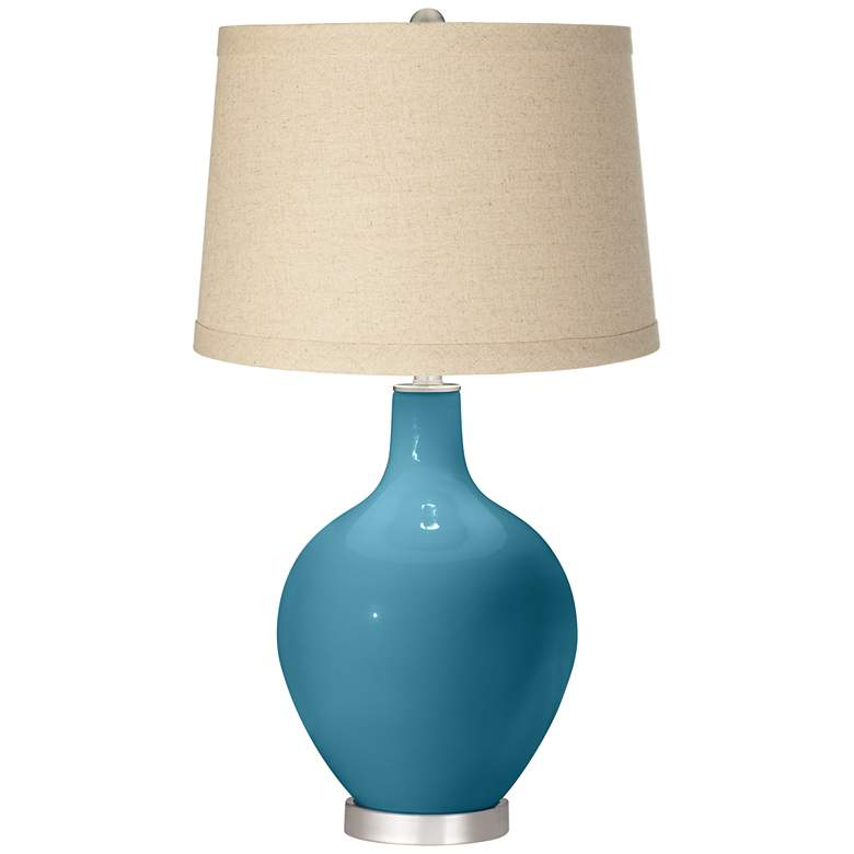 Great Falls Oatmeal Linen Shade Ovo Table Lamp