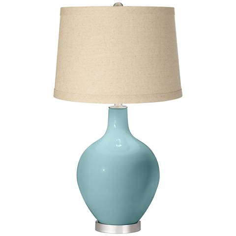 Raindrop Oatmeal Linen Shade Ovo Table Lamp