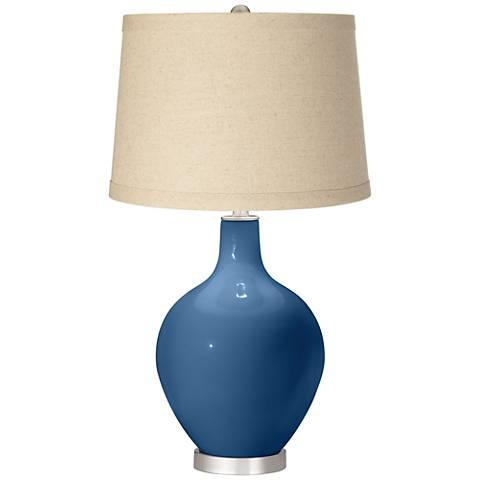 Regatta Blue Oatmeal Linen Shade Ovo Table Lamp