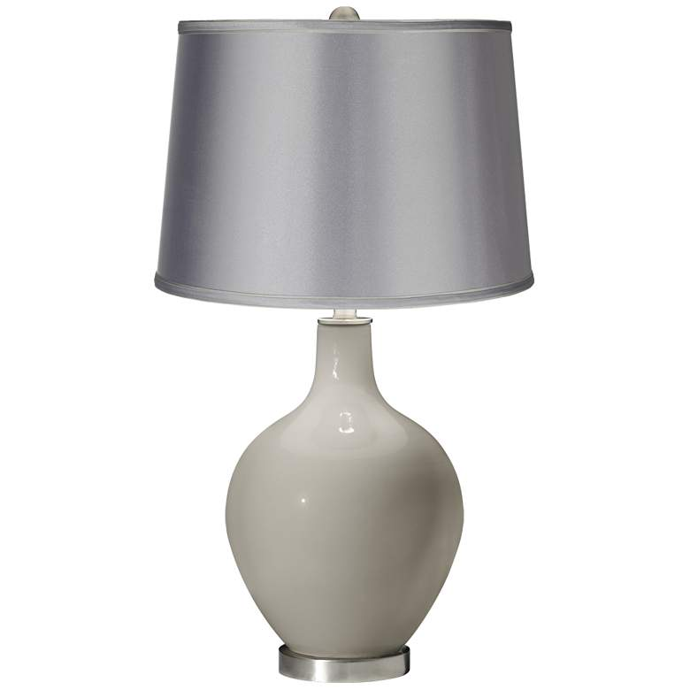 Requisite Gray - Satin Light Gray Shade Ovo Table Lamp