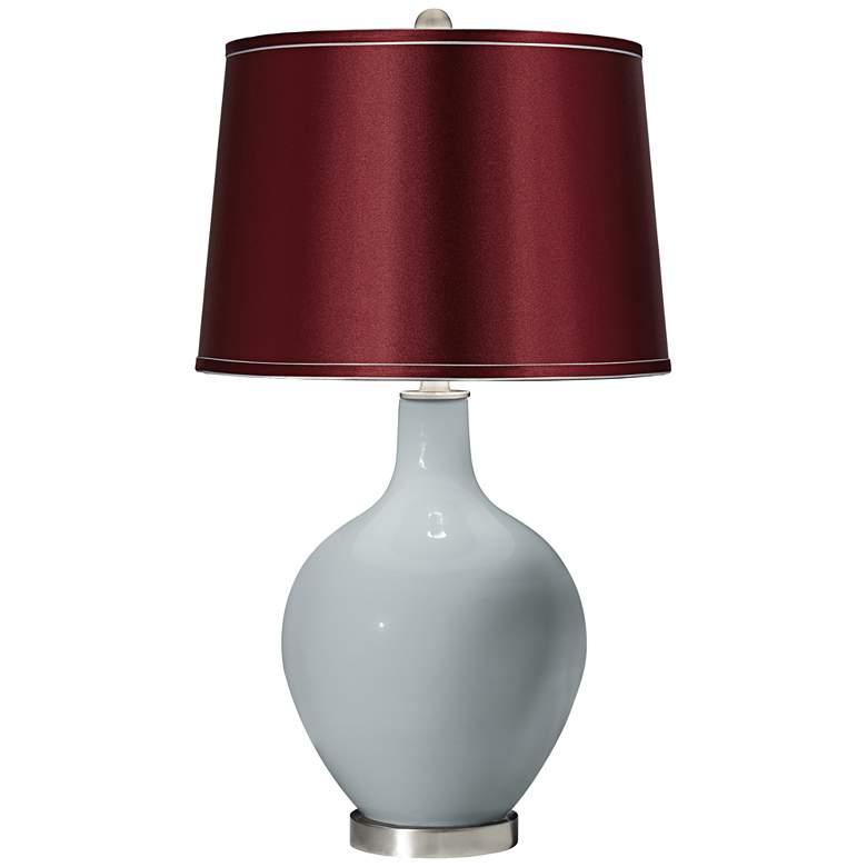Uncertain Gray Satin Merlot Shade Ovo Table Lamp