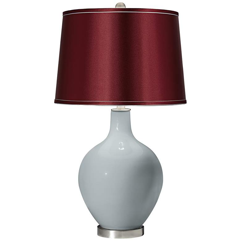 Uncertain Gray Satin Merlot Shade Ovo Table Lamp