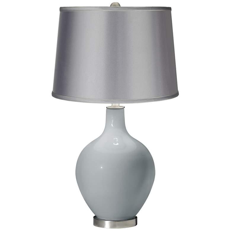 Uncertain Gray - Satin Light Gray Shade Ovo Table Lamp