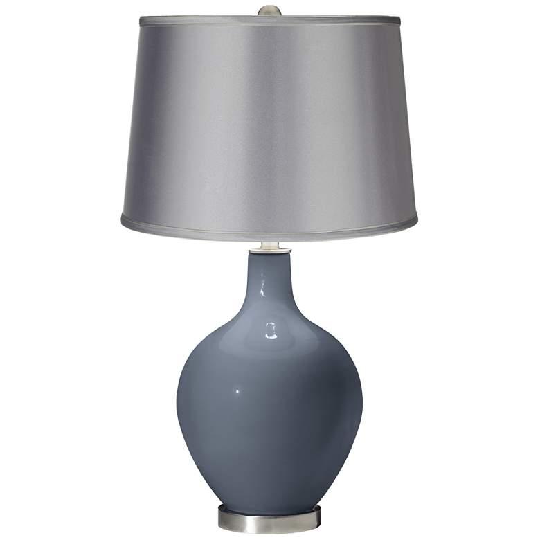 Granite Peak - Satin Light Gray Shade Ovo Table Lamp