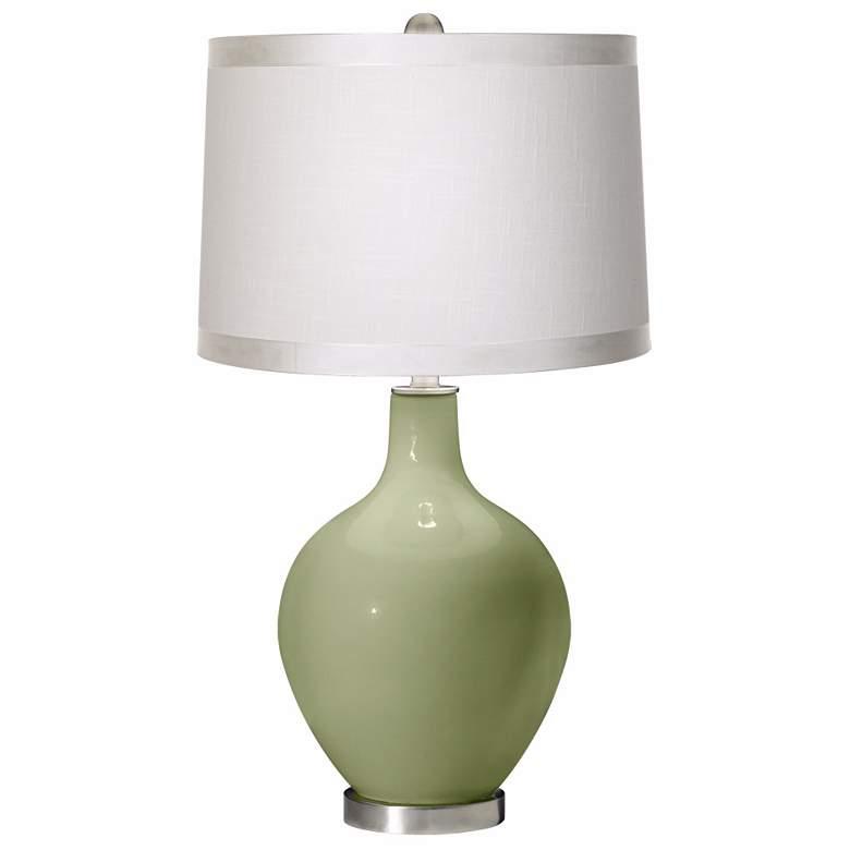 Majolica Green White Drum Shade Ovo Table Lamp