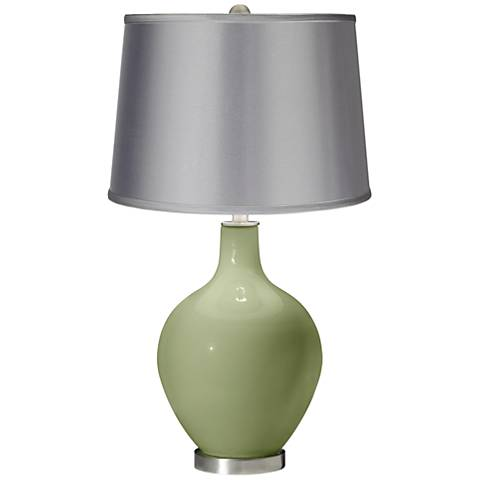 Majolica Green - Satin Light Gray Shade Ovo Table Lamp
