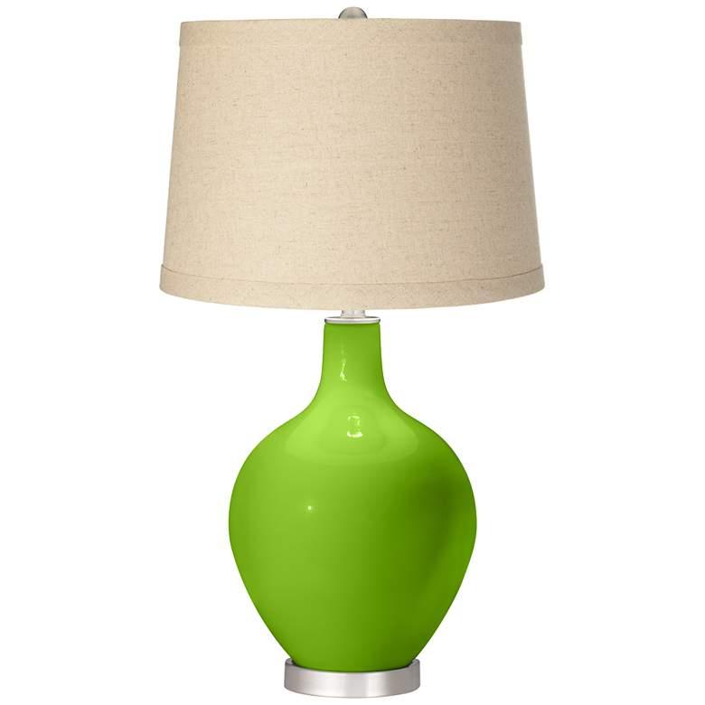 Neon Green Oatmeal Linen Shade Ovo Table Lamp
