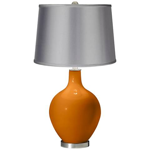 Cinnamon Spice - Satin Light Gray Shade Ovo Table Lamp