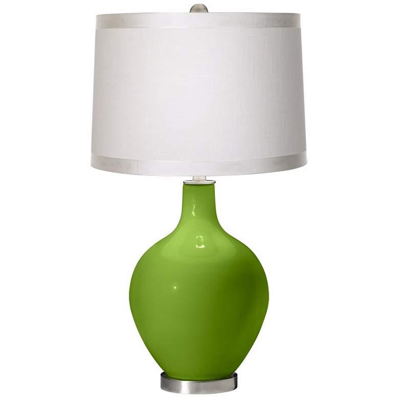 Rosemary Green White Drum Shade Ovo Table Lamp