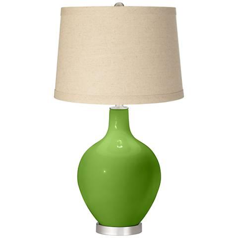 Rosemary Green Oatmeal Linen Shade Ovo Table Lamp