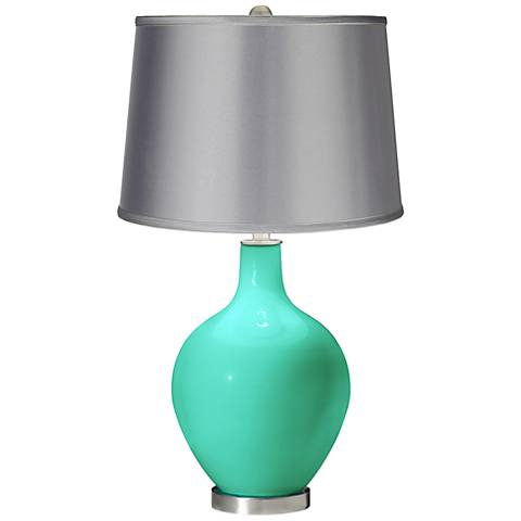 Turquoise - Satin Light Gray Shade Ovo Table Lamp