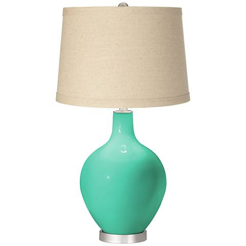 Turquoise Oatmeal Linen Shade Ovo Table Lamp