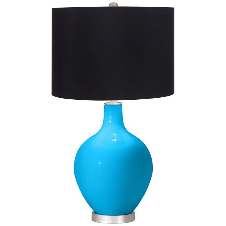Sky Blue Black Shade Ovo Table Lamp