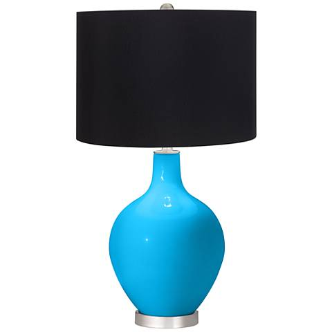 Sky Blue Black Shade Ovo Table Lamp