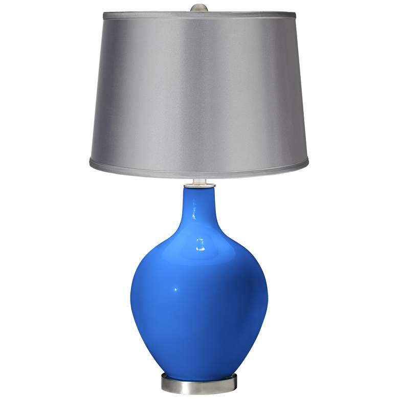 Royal Blue - Satin Light Gray Shade Ovo Table Lamp