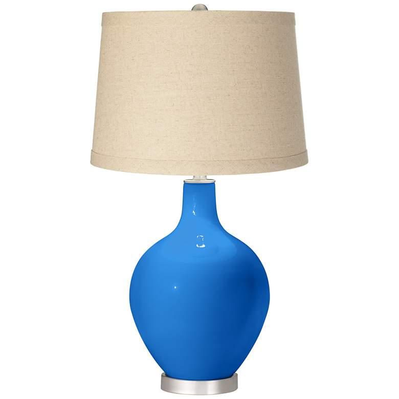 Royal Blue Oatmeal Linen Shade Ovo Table Lamp