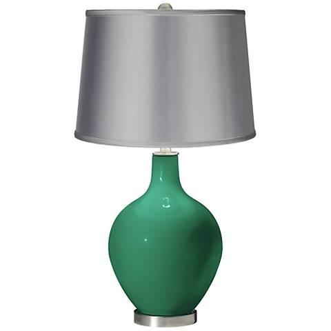 Leaf - Satin Light Gray Shade Ovo Table Lamp