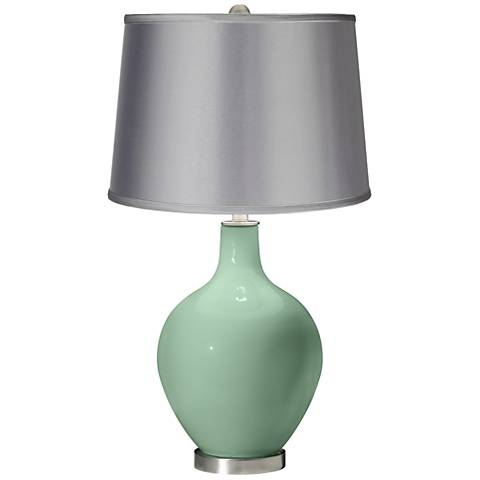 Grayed Jade - Satin Light Gray Shade Ovo Table Lamp