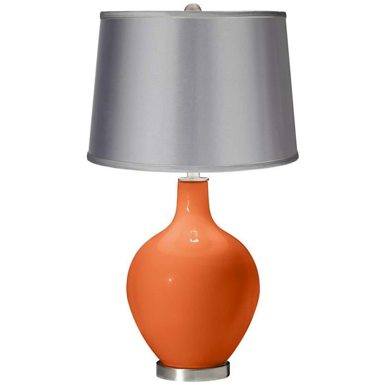 Nectarine - Satin Light Gray Shade Ovo Table Lamp