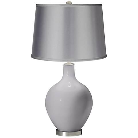 Swanky Gray - Satin Light Gray Shade Ovo Table Lamp