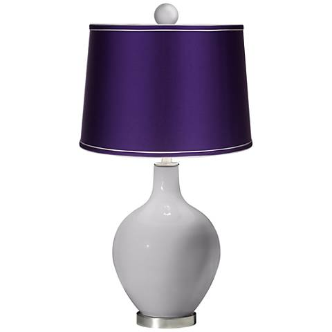 Swanky Gray - Satin Purple Ovo Lamp with Color Finial