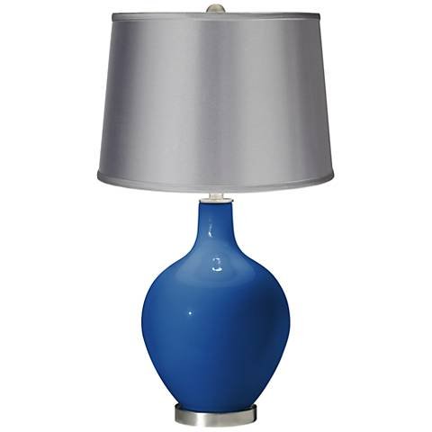 Hyper Blue - Satin Light Gray Shade Ovo Table Lamp