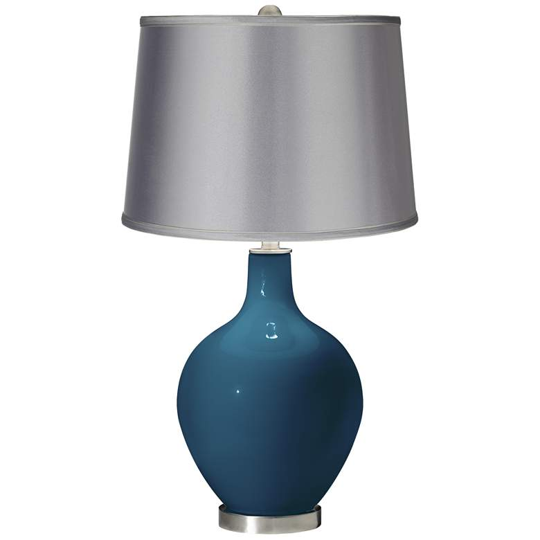 Oceanside - Satin Light Gray Shade Ovo Table Lamp