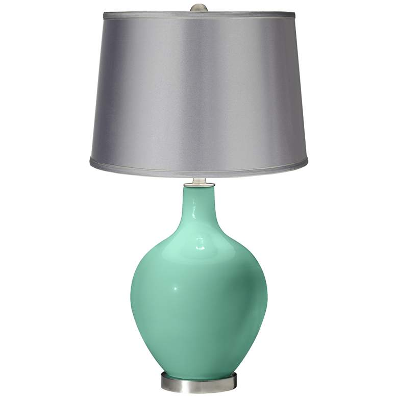 Larchmere - Satin Light Gray Shade Ovo Table Lamp