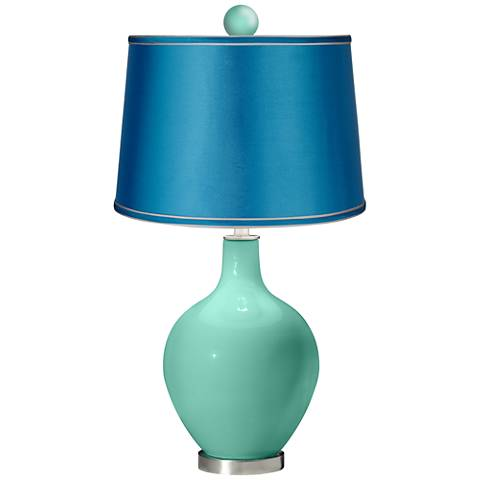 Larchmere - Satin Turquoise Ovo Lamp with Color Finial