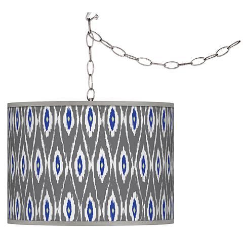 American Ikat Giclee Glow Plug-In Swag Pendant