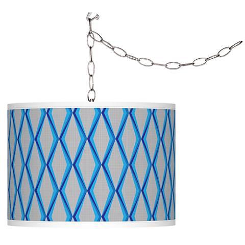 Bleu Matrix Giclee Glow Plug-In Swag Pendant