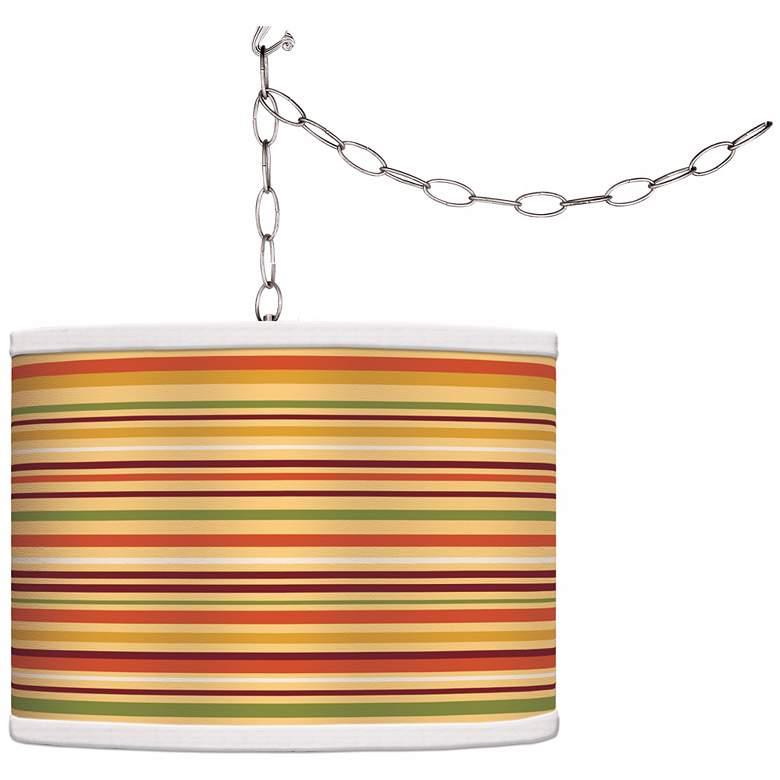 Stacy Garcia Harvest Stripe Giclee Glow Plug-In Swag Pendant