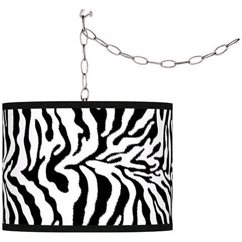 Safari Zebra Giclee Glow Plug-In Swag Pendant