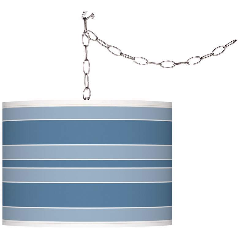 Secure Blue Bold Stripe Giclee Glow Plug-In Swag Pendant