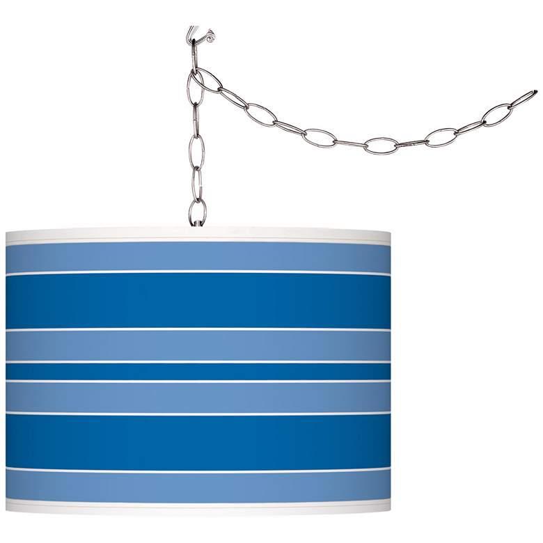 Royal Blue Bold Stripe Giclee Glow Plug-In Swag Pendant