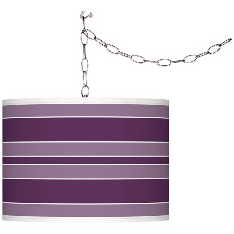Kimono Violet Bold Stripe Giclee Glow Plug-In Swag Pendant