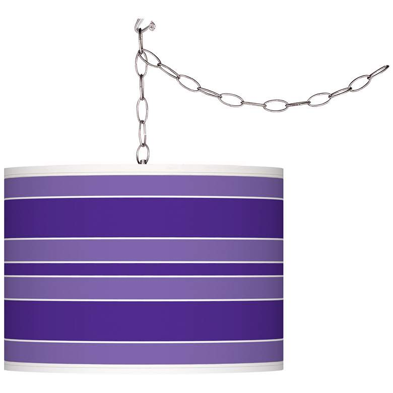 Violet Bold Stripe Giclee Glow Plug-In Swag Pendant
