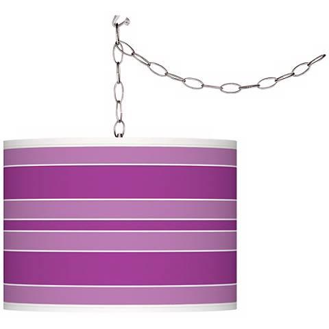 Peony Purple Bold Stripe Giclee Glow Plug-In Swag Pendant