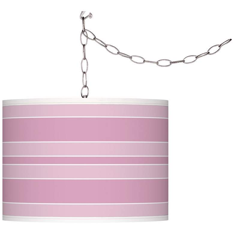 Pink Pansy Bold Stripe Giclee Glow Plug-In Swag Pendant