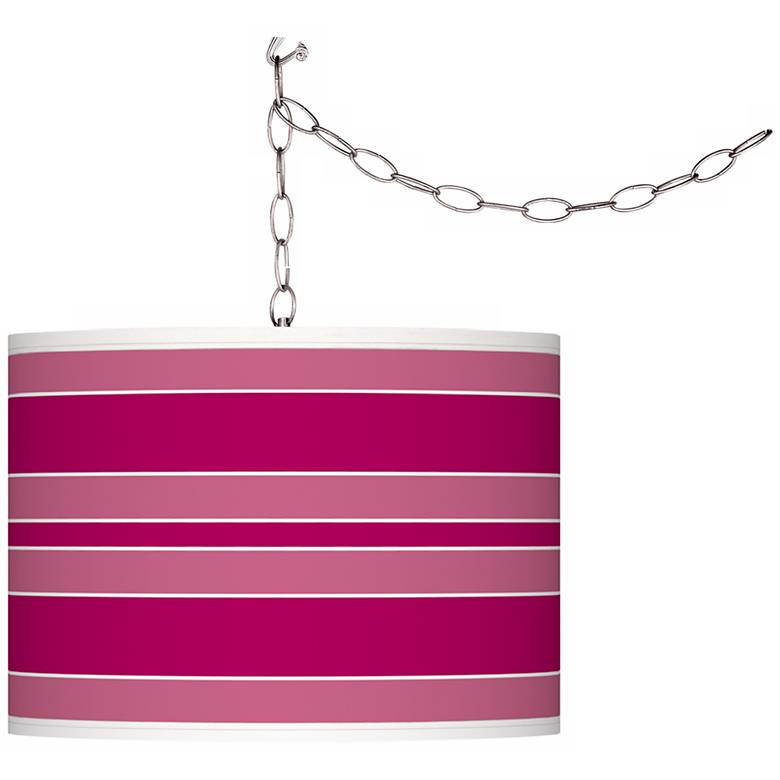 French Burgundy Bold Stripe Giclee Glow Plug-In Swag Pendant