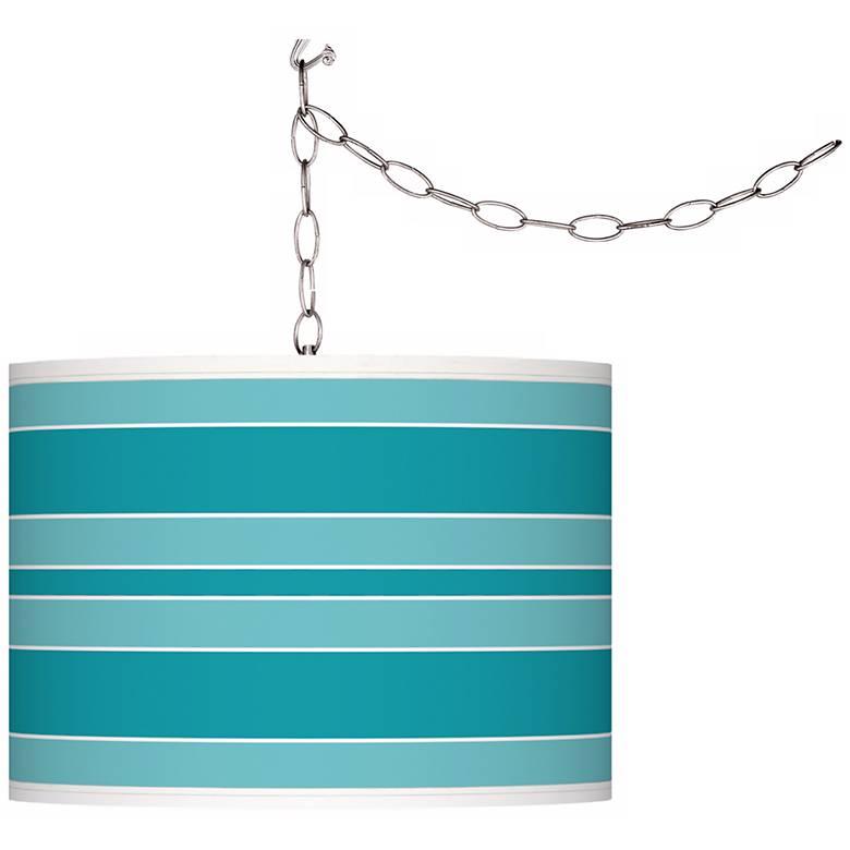 Surfer Blue Bold Stripe Giclee Glow Plug-In Swag Pendant