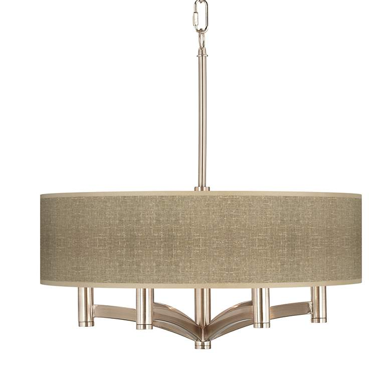 Burlap Print 6-Light Nickel Pendant Chandelier