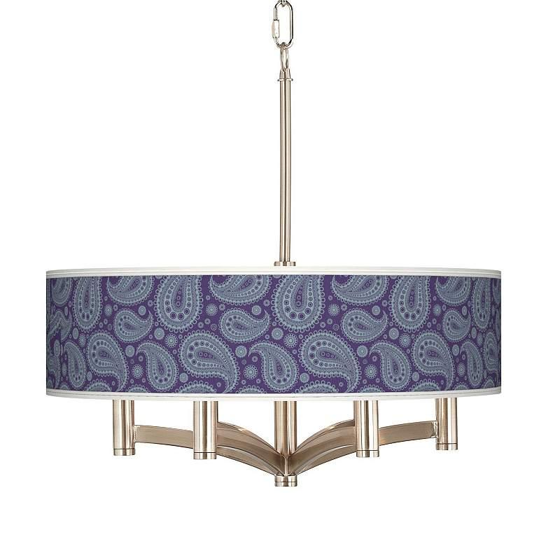 Purple Paisley Linen Ava 6-Light Nickel Pendant Chandelier