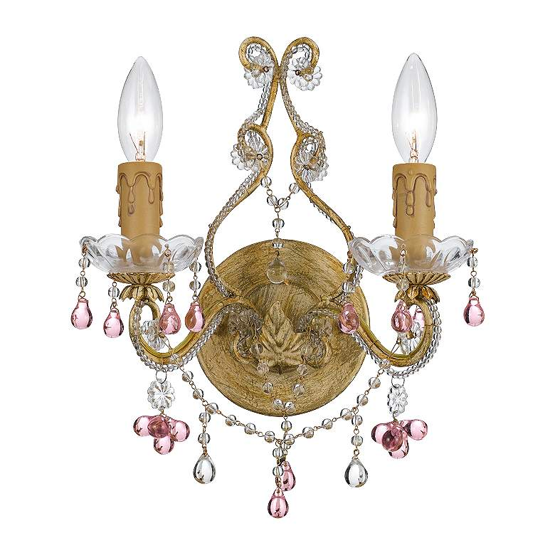 """Parisian Rose 12"""" Wide Crystal Two Light Wall Sconce"""