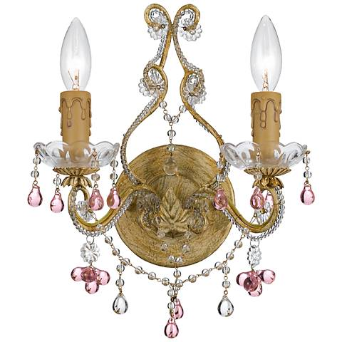 "Parisian Rose 12"" Wide Crystal Two Light Wall Sconce"